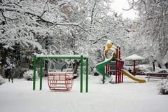 Campo da giuoco in inverno Immagini Stock Libere da Diritti