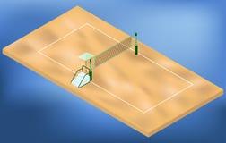 Campo da giuoco isometrico di beach volley con rete, la sabbia ed il posto dei giudici Fotografia Stock