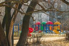 Campo da giuoco moderno del ` s dei bambini in suburbano di Mosca Fotografia Stock Libera da Diritti