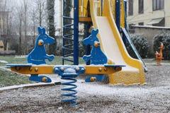 Campo da giuoco in neve fredda Fotografie Stock