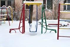 Campo da giuoco in neve nell'inverno Immagine Stock