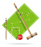 Campo da giuoco per l'illustrazione di vettore del croquet Immagini Stock Libere da Diritti