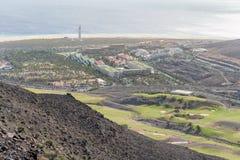 Campo da golf e località di soggiorno in Morro Jable, Fuerteventura, Spagna fotografia stock libera da diritti
