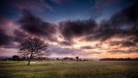 Campo da golf sul paesaggio del fuoco Fotografia Stock Libera da Diritti