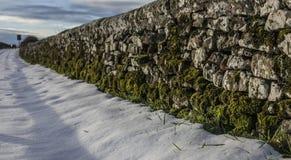 Campo da neve, Yorkshire, Inglaterra - uma parede Fotografia de Stock Royalty Free