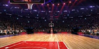 Campo da pallacanestro con il fan della gente Pioggia sullo stadio Photoreal 3d rende il fondo blured nella possibilità remota di Fotografia Stock