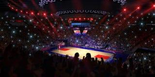 Campo da pallacanestro con il fan della gente Pioggia sullo stadio Photoreal 3d rende il fondo blured nella possibilità remota di Immagine Stock