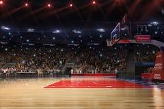 Campo da pallacanestro con il fan della gente Pioggia sullo stadio Photoreal 3d rende il fondo blured nella possibilità remota di illustrazione di stock