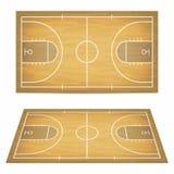Campo da pallacanestro con il pavimento di legno Vista da sopra e prospettiva, vista isometrica illustrazione vettoriale