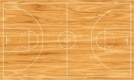 Campo da pallacanestro di legno Immagini Stock Libere da Diritti
