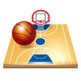 Campo da pallacanestro e sfera illustrazione vettoriale