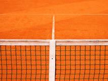 Campo da tennis con la linea e la rete Fotografie Stock Libere da Diritti