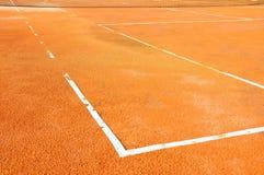 Campo da tennis con rete Fotografia Stock