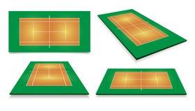 Campo da tennis Vista superiore e prospettiva diversa, vettore eps10 illustrazione di stock