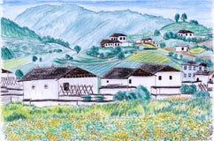 Campo da vila da ilustração Ilustração Royalty Free