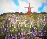 Campo das flores e do moinho de vento. Pintura original do art. na seda. Foto de Stock