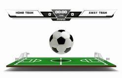 Campo de ação do futebol ou do futebol com elementos e a bola 3d infographic Ostente o jogo Placar do estádio de futebol no branc ilustração stock