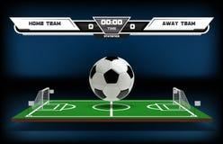Campo de ação do futebol ou do futebol com elementos e a bola 3d infographic Ostente o jogo Projetor do estádio de futebol e Foto de Stock