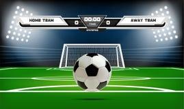 Campo de ação do futebol ou do futebol com elementos e a bola 3d infographic Ostente o jogo Projetor do estádio de futebol e Fotografia de Stock Royalty Free