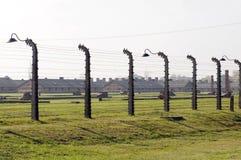 Campo de Auschwitz de la cerca del alambre de púas de postes Fotos de archivo