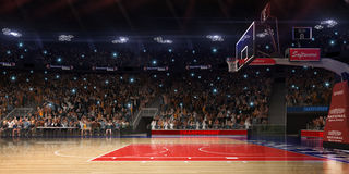 Campo de básquete com fã dos povos Arena de esporte Photoreal 3d rende o fundo blured na possibilidade remota distancelike inclin