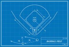 Campo de basebol no modelo Fotografia de Stock Royalty Free