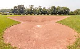 Campo de basebol vazio da placa home de trás imagens de stock
