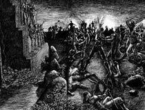 Campo de batalla del Armageddon stock de ilustración