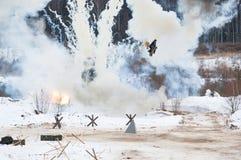 Campo de batalla del bombardeo Fotografía de archivo