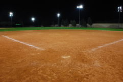 Campo de beísbol con pelota blanda Fotografía de archivo libre de regalías