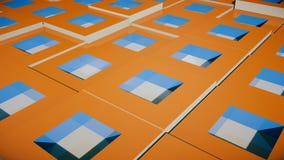 Campo de cubos alaranjados brilhantes Imagem de Stock Royalty Free