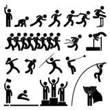 Campo de deporte y juego de la pista atlético stock de ilustración