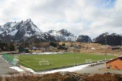 Campo de fútbol ártico Foto de archivo libre de regalías
