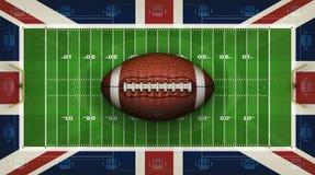 Campo de fútbol americano, bandera británica y diseño del fondo de los fútboles ilustraci?n 3D ilustración del vector
