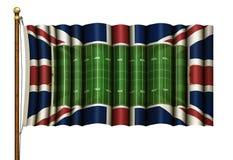 """Campo de fútbol americano y bandera británica combinados en ejemplo de 3D de un †de la asta de bandera """" libre illustration"""