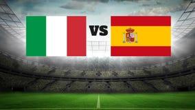 Campo de fútbol animado con vídeo de las luces ilustración del vector