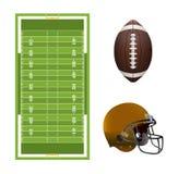 Campo de fútbol, bola, y elementos americanos del casco Imágenes de archivo libres de regalías