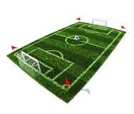 Campo de fútbol con la bola en el centro Fotos de archivo