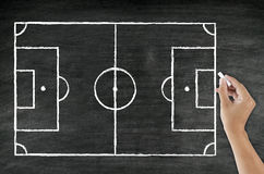 Campo de fútbol del dibujo de la mano Fotos de archivo