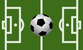 Campo de fútbol del vector con un balón de fútbol Foto de archivo libre de regalías