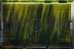 Campo de fútbol desde arriba fotos de archivo libres de regalías
