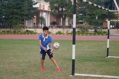 Campo de fútbol en la escuela Imagen de archivo libre de regalías
