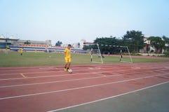 Campo de fútbol en la escuela Imágenes de archivo libres de regalías