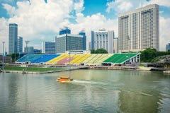 campo de fútbol en Marina Bay Sands Singapore foto de archivo