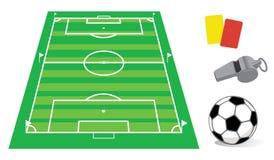 Campo de fútbol en perspectiva Imágenes de archivo libres de regalías