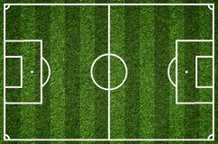 Campo de fútbol, imagen del primer del campo de fútbol natural de la hierba verde Fotografía de archivo libre de regalías