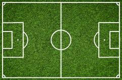 Campo de fútbol, imagen del primer del campo de fútbol natural de la hierba verde Fotografía de archivo