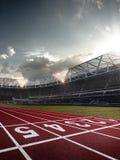 Campo de fútbol de la arena del estadio de la tarde Foto de archivo