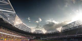 Campo de fútbol de la arena del estadio de la tarde Foto de archivo libre de regalías