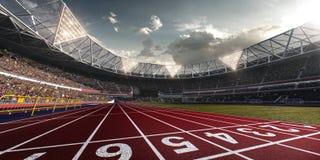 Campo de fútbol de la arena del estadio de la tarde Fotografía de archivo
